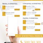 Plan telefonicznych dyżurów w ośrodku: 15-17 kwietnia 2020 r.