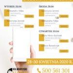 Plan telefonicznych dyżurów w ośrodku: 28-30 kwietnia 2020 r.