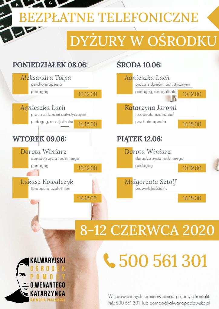 Plan telefonicznych dyżurów w ośrodku: 8-12 czerwca 2020 r.