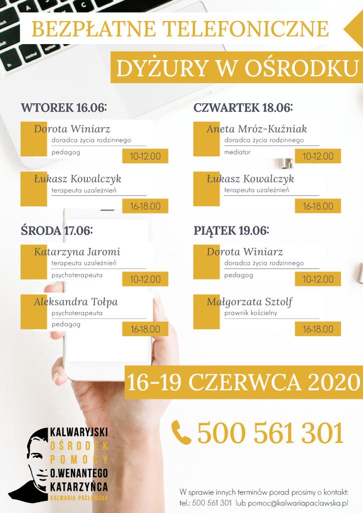 Plan telefonicznych dyżurów w ośrodku: 16-19 czerwca 2020 r.