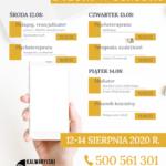 Plan telefonicznych dyżurów w ośrodku: 12 – 14 sierpnia 2020 r.