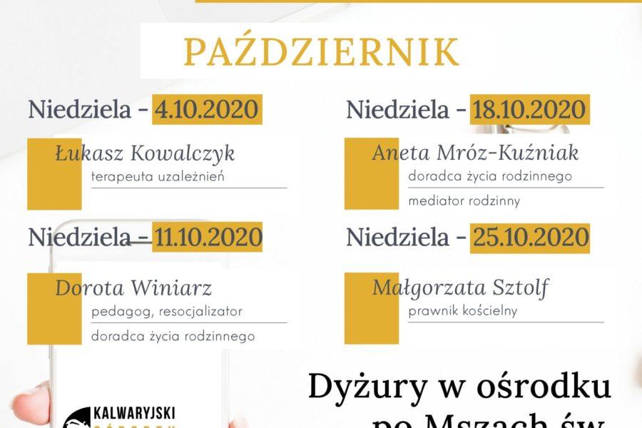 Dyżury PAŹDZIERNIK 2020